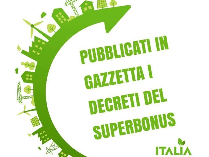 PUBBLICATI IN GAZZETTA I DECRETI DEL SUPERBONUS AL 110%